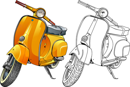 Vector illustration, yellow scooter and in line version.