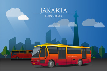 Vector illustrations, Transjakarta bus is one of the mass transportation in Jakarta city, with the background of buildings and national monuments.