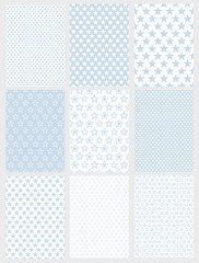 Cute Abstract Vector Patterns Set. 9 Various Geometric Star Designs. White and Light Blue Pastel Color. Simple Two Colors Graphic.