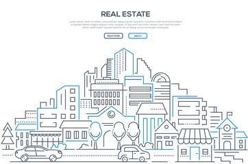 Real estate - modern line design style web banner