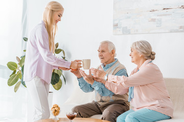 young woman giving senior parents cups with tea