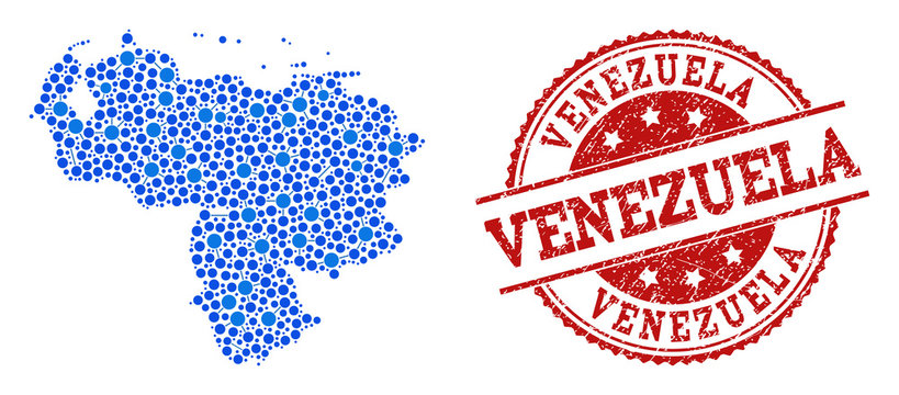 Compositions of blue map of Venezuela and red grunge stamp seal. Mosaic map of Venezuela is formed with links between circle dots. Abstract design elements for patriotic purposes.