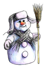 purple Siberian snowman in winter hat and warm knit scarf standing on a white background isolated with a broom in his hand. painted in watercolor