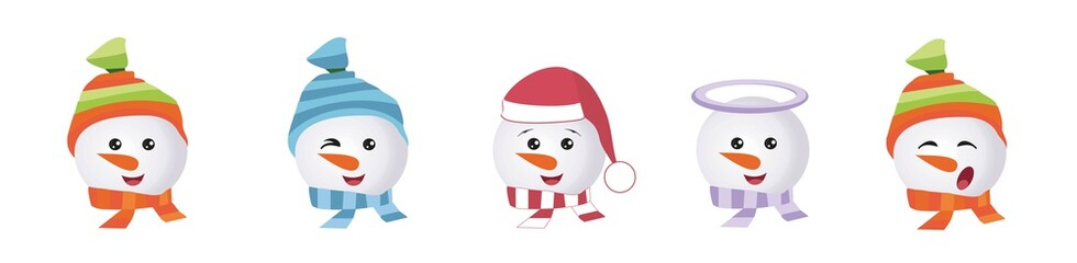Set of Graphic Emoticons - snowmans. Collection of Emoji. Smile icons. Vector illustration on white background