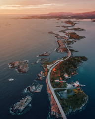 Atlantic Ocean Road while sunset in Norway