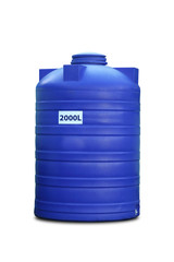 Plastic water tank, isolated on white background.