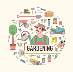 Circular composition with gardening tools or equipment and farmer or agricultural worker holding watering can in center. Decorative design element. Creative modern colorful vector illustration.