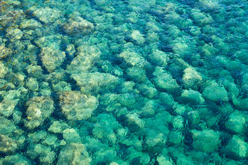 Close up of rocks on the Mediterranean sea bed;  looking through clear blue water.