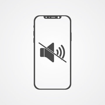 Phone with silent vector icon sign symbol