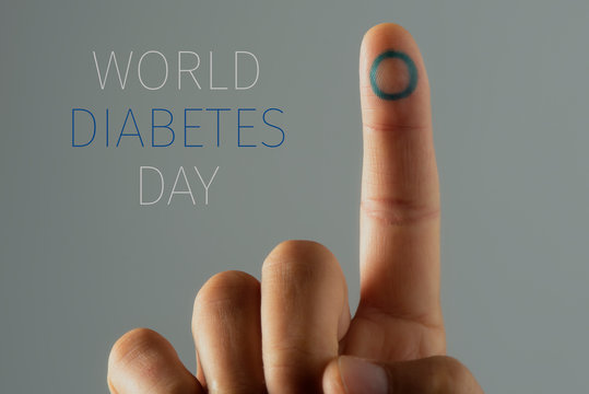 text world diabetes day and man with a blue circle