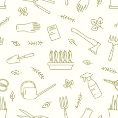 Monochrome seamless pattern with gardening tools, equipment for plants cultivation drawn with contour lines on white background. Decorative backdrop. Modern vector illustration in linear style.