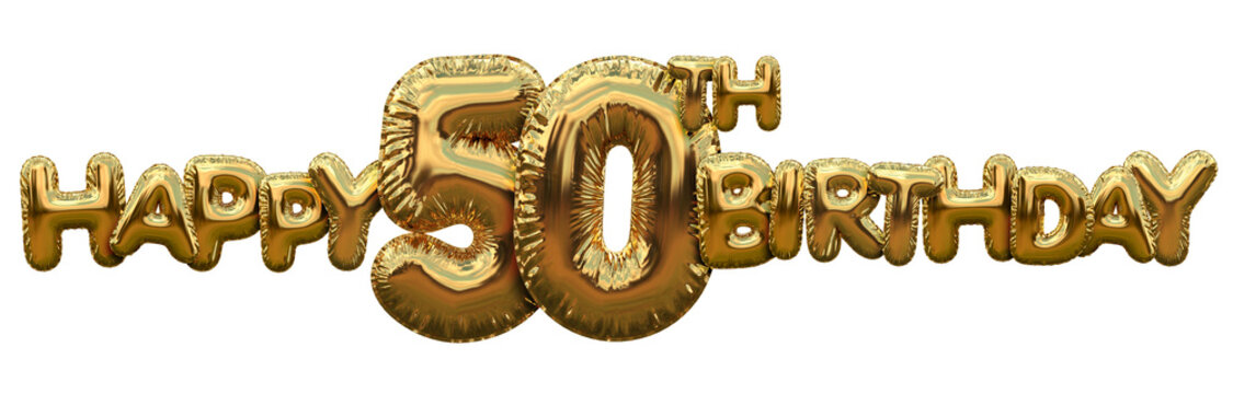 Happy 50th birthday gold foil balloon greeting background. 3D Rendering