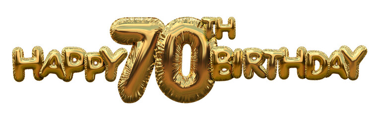 Happy 70th birthday gold foil balloon greeting background. 3D Rendering