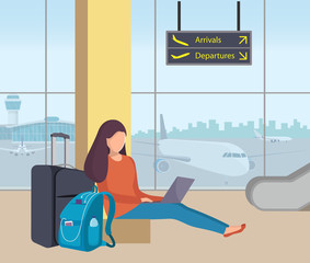 Young woman sitting in airport lounge with her suitcase and backpack and working on a laptop. Girl passenger at the airport. Planes and control tower outside the window. Flat vector illustration.