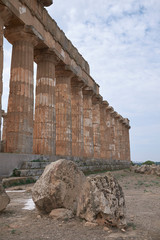 Selinunte, Italy - September 02, 2018: View of the Temple of Hera (Temple E)