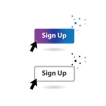 Register or Sign Up Button. Simple concept for mobile registration.
