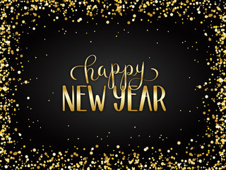HAPPY NEW YEAR 2019 metallic gold hand lettering card