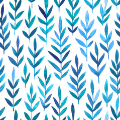 Watercolor seamless pattern with hand drawn herbal branches.