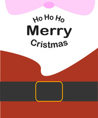 Christmas card . Cute Santa clause with ho ho ho typography. Cute Santa Claus wishes a merry Christmas and new year
