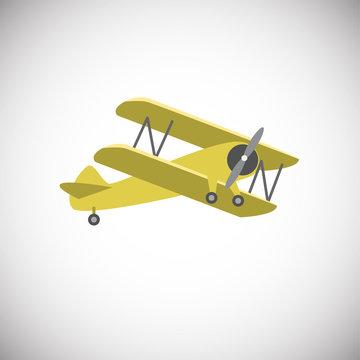 Yellow biplane aircraft on white background icon