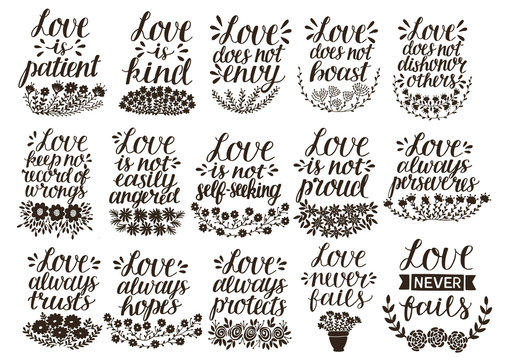 Set of 15 hand lettering quotes about love from Corinthians .