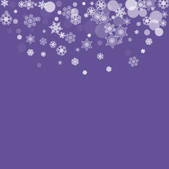 Winter frame with ultraviolet snowflakes. New Year snowy backdrop. Snow border for gift coupons, vouchers, ads, party events. Christmas trendy background. Holiday banner with winter frame