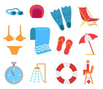 Swimming Equipment Vector Icon Cartoon Style.