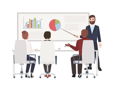 Office workers at whiteboard meeting. Bearded man making presentation in front of audience. Cute cartoon characters isolated on white background. Colored vector illustration in modern flat style.
