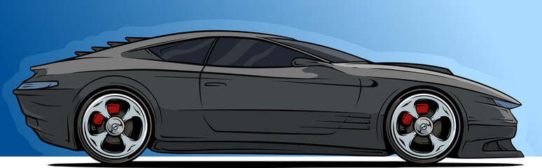 Cartoon cool modern black sport racing car