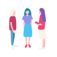 The friends are standing together and talking. Vector illustration