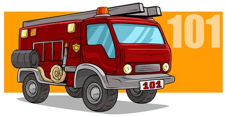 Cartoon emergency rescue fire department truck