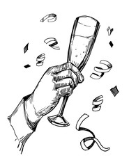 Hand holding  glass with champagne. Hand drawn illustration converted to vector
