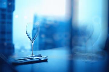 empty wine glasses restaurant interior serving / beautifully served glass wine glasses