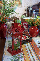 Interior decor items red box, and red vases