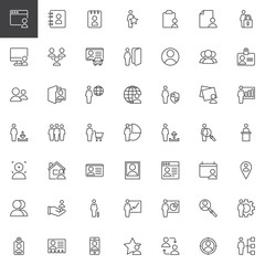 Fototapeta User outline icons set. linear style symbols collection, line signs pack. vector graphics. Set includes icons as Browser, Agenda, favorite, logout, security, download, statistics upload profile