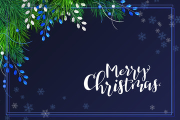 Vector illustration of greeting banner template with hand lettering label - merry Christmas - with realistic fir-tree branches and decorative bead branches