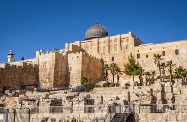 JERUSALEM, ISRAEL. October 30, 2018. The Al Aqsa Mosque, a Muslim shrine, as seen from the south, and archaeological park below the walls of the Old city of Jerusalem. The Temple Mount stock image.
