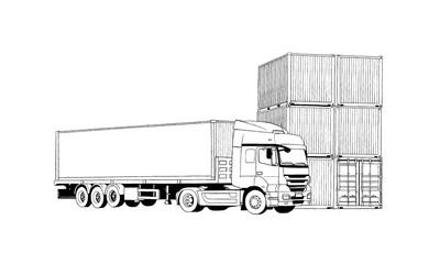 Hand Drawing Logistics Concept