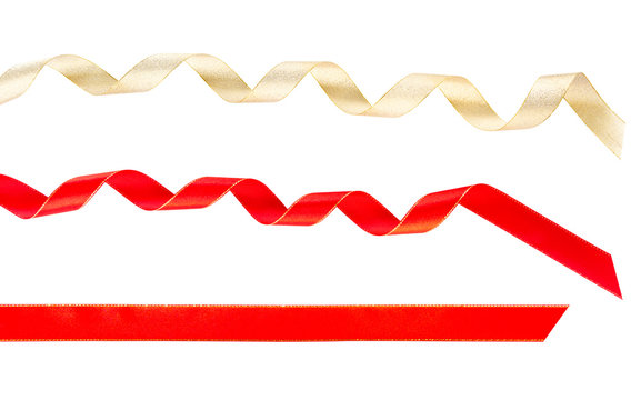 Gold yellow curl & red curl straight ribbons isolated on white background (clipping path included for special holidays, birthday, wedding, Christmas gift party celebration season