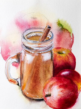 Apple cider in a glass  with apples in watercolor.