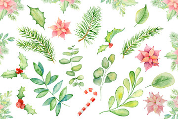 Merry Christmas watercolor floral winter elements. Happy New Year card, posters. Flowers, pine tree, spruce branches and mistletoe branches