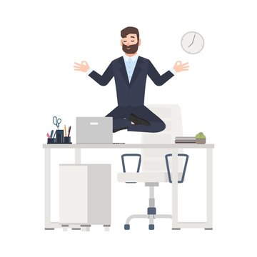 Bearded man or office worker dressed in business suit sitting crossed legs, levitating over its workplace desk and meditating. Tranquility at work. Colorful vector illustration in flat cartoon style.