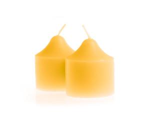 orange candle isolated on white background
