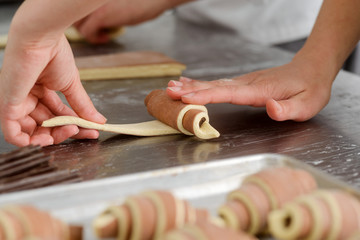 Making of striped crescent rolls
