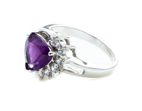 beauty of amethyst ring on white background