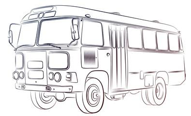 Набросок старого автобуса.