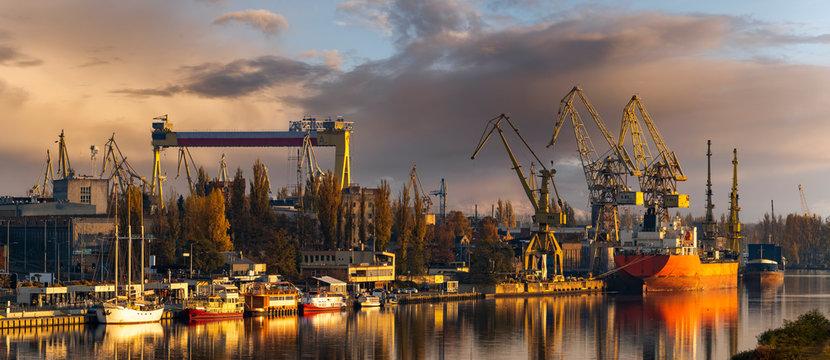Szczecin, Poland-November 2018: A view of the repair shipyard and the quay in Szczecin