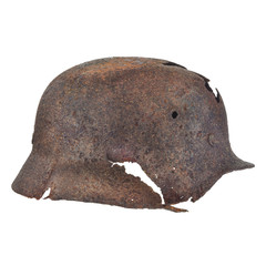 Authentic German Second World War helmet with bullet hole