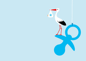 Stork With Baby Boy On Hanging Blue Pacifier Blue