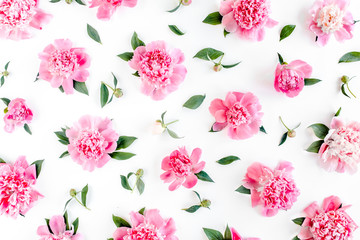 Pattern of pink peony flowers on white background. Peony texture. Flat lay, top view.